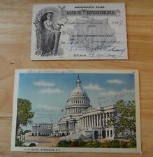 Vtg 1939 US House of Representative 76th Congress Pass Letter & Capitol Postcard