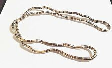 "Alloy Snake Bracelet Necklace 34"" Flexible Bendy Silver And Brown"