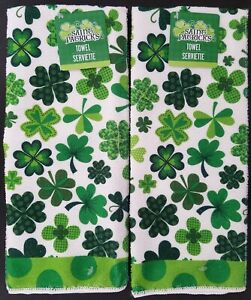 "St. Patrick's Day Shamrock Polyester Hand Towels 15""x25"", S21"