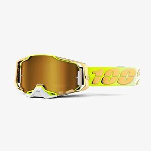 100% Armega Dirt Bike Motocross MX Goggle Feelgood Mirror Gold Lens