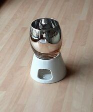Contemporary Design Tealight Wax Melt Warmer Oil Burner Metallic And White