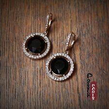 Boucles d'Oreilles Dormeuses Rond Noir Cristal Retro Style Original Cadeau CC 3