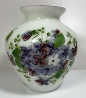 Vintage Consolidated Milk Glass Hand Painted Vase Violets 6""