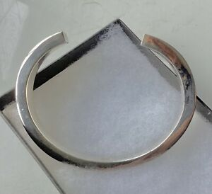 Solid Chunky 925 Sterling Silver Open Torque Bangle Bracelet