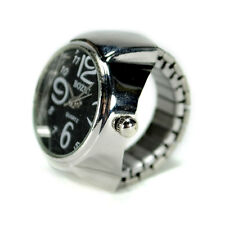WATCH RING Finger Stretch Band Chrome Time Jewelry NEW Large Number Black Gift