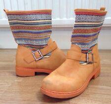 WOMENS FESTIVAL AZTEC BOHO VINTAGE GRUNGE RETRO ANKLE BOOTS SHOES UK 6 EU 39