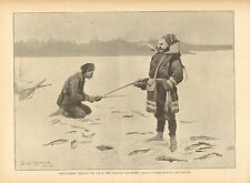 Frederick Remington, Trout Fishing, Canada, Ice Fishing, 1890 Antique Art Print