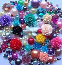 25g MIXED COLOUR Pearls/Roses/Gem Flatback Kawaii Cabochons Decoden Craft Kitsch