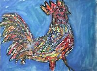 Matt Scalf Watercolor 9x12 ORIGINAL PAINTING Abstract Rooster Chicken Gamecock