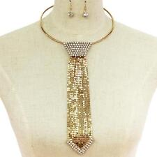 "16"" gold crystal choker collar bib 8.50"" tie sequin necklace 1.30"" earrings 11"