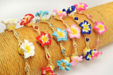 Wholesale Lots 12pcs Cords Flower FIMO polymer clay Silver Plated Bracelets