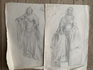 Pair Of Original 1940s Mid Century Pencil Sketches Woman Hooded Robes 43cm
