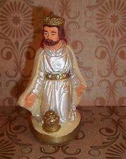 VINTAGE Nativity Kneeling WISE MAN Figure Chalk Ware Repainted C371