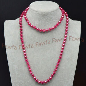 Lots 8mm Multicolor South Sea Shell Pearl Round Beads Necklace 16-36''Handmade