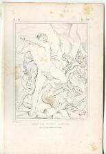 Antique Greek Mythology Hercules Slaying Hydra Greek Water Sea Monster Old Print