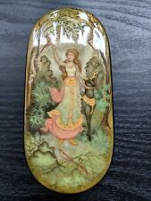 "Kholui Handpainted Russian Lacquer Box ""Spring Forest"" Hand Painted, signed"