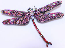 Red And Pink Dragonfly Rhinestone Bling Brooch Hat Lapel Pin #Br205