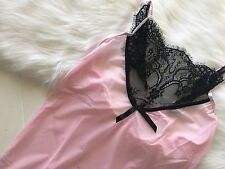 Sexy Plus Size 8-22 Pink Mesh Black Lace Babydoll Chemise Lingerie Dress Nightie
