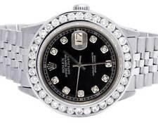 Mens Rolex Datejust 36MM Quickset 16014 Jubilee Black Dial Diamond Watch 5.0 Ct