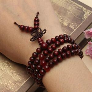6mm Red Sandalwood 108 Bead Bracelet Cuff Women Charm Reiki Unisex Accessories