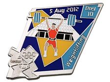 "OFFICIAL LICENSED LONDON 2012 OLYMPIC GAMES PIN / BADGE ""WEIGHTLIFTING"" DAY #10"