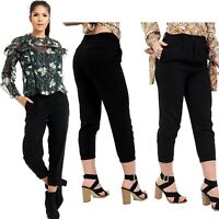 Women's Ladies High Waisted Black Tapered Cigarette Trousers Straight Leg Pants