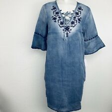 VINTAGE AMERICA Denim Embroidered Women Dress. Size Medium. New With Tags