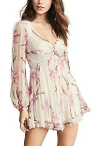 Zimmermann Orchid print Corsage Knot Romper size1
