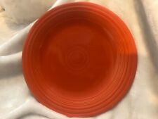 "9 Vintage 1936 RED ORANGE FIESTAWARE RADIOACTIVE GLAZE 10"" PLATES, 2 DESSERT"