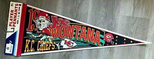 "Joe Montana Pennant Kansas City Chiefs 30"" Vintage 1993 WinCraft"