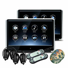 """Active 2x 11.6"""" IPS Screen Car Headrest DVD Player Pillow Monitor + IR Headset"""