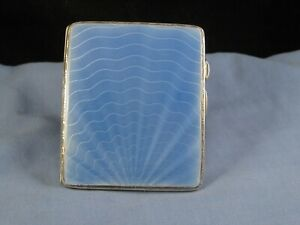 BLUE GUILLOCHE ENAMEL & SILVER ART DECO ANTIQUE CIGARETTE CARD CASE POCKET BOX