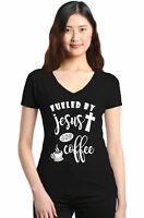 Fueled By Jesus And Coffee Women's V-Neck T-shirt Christian Religious Faith Tee