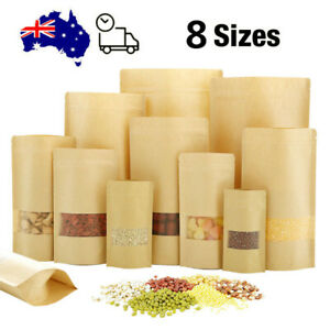 Stand Up Kraft Paper with Window Packaging Bags Zip Lock Seal Food Storage Pouch