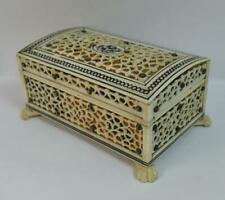 Victorian Anglo Indian Top Quality Faux Tortoiseshell Jewellery Casket / Box p51