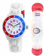 TIKKERS CHILDREN'S TIME TEACHERS EASY READ WHITE SILICONE STRAP WATCH - TK0001