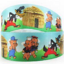 RUBAN SATIN ** 25 mm ** Loup et petits cochons cabane Paille - Vendu au mètre