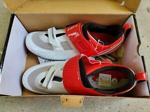 NEW 11.5 USA Louis Garneau Carbon Tri X-Lite II Racing Bicycle Shoes -Red/White