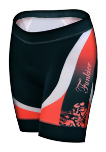 Funkier Women's Padded Cycling Shorts S297-C8 Black & Red Floral