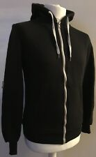 MENS CEDARWOOD STATE PLAIN BLACK HOODIE WITH WHITE ZIP UP & PULLEYS SIZE SMALL