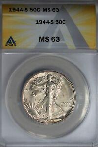 1944-S  .50   ANACS  MS 63  Walking Liberty, Half Dollar, Lady Liberty Half