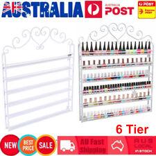 6 Tier Wall Mounted Nail Polish Rack Metal Stand Display Organizer Shelf White