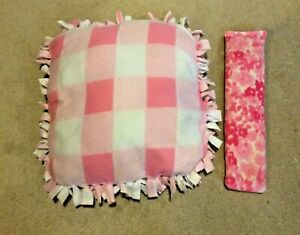 PINK & WHITE cotton & NECK PILLOW WARMING Shabby Shic handmade bed square plaid