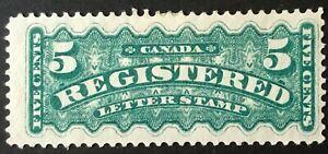 CANADA 1876  # F2i 3 cent GREEN - REGISTRATION - MINT HINGE STAMP