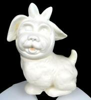 """SHAWNEE POTTERY MUGGSY TERRIER TOOTHACHE DOG WHITE 11 1/4"""" COOKIE JAR 1940's"""