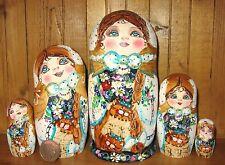Russian nesting doll GOLD HAND PAINTED Pyrography MATT Babushka 5 CATS MAMAYEVA