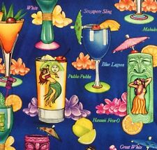 RPG61 Hawaii Luau Tropical Hula Summer Waikiki Retro Tiki Cotton Quilting Fabric