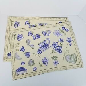 2 April Cornell Placemats  Pale Yellow/Blue Teatime New