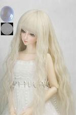 "8-9-10"" 1/3 BJD Blonde Curly Long Wig LUTS Doll SD DZ DOD MSD Pullip Hair +Cap L"