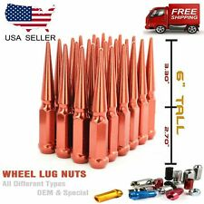 "24PC 1/2x20 RED 6""SPIKE LUG NUTS FITS MUSTANG/WRANGLER/GRAND CHEROKEE DODGE"